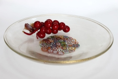 473/GP Блюдо декоративное 40см прозрачно-золотое с мурринами с центре