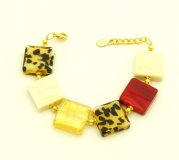 CL10/B02 Браслет муранское стекло цвет красно-золотой