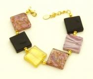 CL10/B05 Браслет муранское стекло цвет золото-аметист