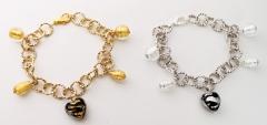 MC3/maz Браслет с центральной бусиной-сердечком цвет золото и серебро