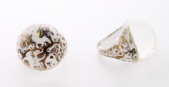 NV02 Кольцо Бонди' круглое диам.2,5см цвет бело-золотой
