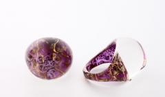 NV06 Кольцо Бонди' круглое диам.2,5см цвет лилово-золотой