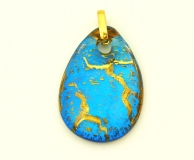 NV14 Подвеска Бонди' в форме капли 4х6см цвет сине-золотой