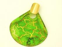 NV15 Подвеска Бонди' веер диам.8см цвет зелено-золотой