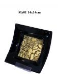 Mz01 Блюдце декоративное черное с золотом 14х14см муранское стекло