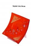 Mz04 Блюдце декорат. красное 14х14см муранское стекло