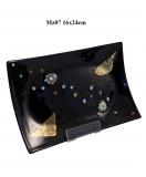 Mz07 Блюдце декорат. черное 16х24см муранское стекло