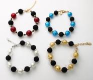 Этна браслет (бусины 12 мм) 4 цвета муранское стекло
