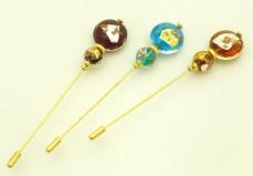 Игла для шарфа или берета с двумя бусинами Kle 3 цвета муранское стекло
