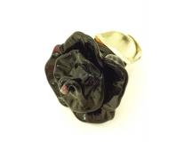 RS22 Кольцо Черная Роза  муранское стекло
