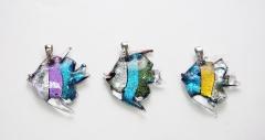 RS62 Подвеска Рыбка в полоску муранское стекло, кристаллы Сваровски