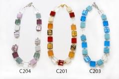 C201-203-204 Колье из квадратных бусин 15х15мм различные цвета муранское стекло