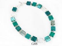 C205 Колье из квадратных бусин 15х15мм цвет морской волны муранское стекло