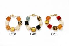 C200-201-202 Браслеты из квадратных бусин 15х15мм муранское стекло