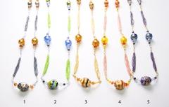 2012-24/maz Колье 100 см бисер и бусины различных форм, 5 цветов муранское стекло