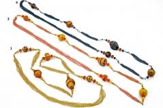 2012-24/maz Колье 100 см бисер и бусины различных форм, 3 цвета муранское стекло