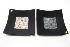 PNew 22x22 Блюдо черное с мурринами 2 цвета муранское стекло