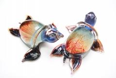 TP10 Скульптура Морская черепаха 24см с кальцедоном муранское стекло