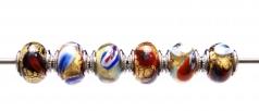 TR13 Сет 6 бусин 13х15мм Lacrima Mosaico Oro муранское стекло