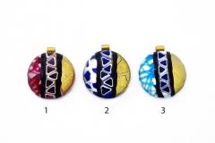 IV06-p Подвеска круглая в форме полусферы диам.4см 3 цвета муранское стекло