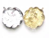 RS27 Подвески Розочки маленькие диам.3см с золотом и серебром муранское стекло