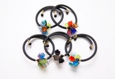 2012-1/maz Браслет на каучуке Цветочная композиция муранское стекло