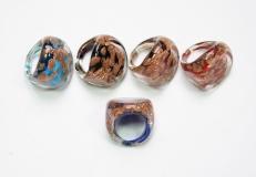 RD04-A Кольцо Авентуриновые брызги 5 цветов муранское стекло