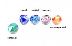 """RD01 Кольцо """"Цветной мрамор """" 5 цветов муранское стекло"""