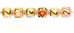 TR32 Набор из 6 цилиндрических бусин Mosaico oro муранское стекло