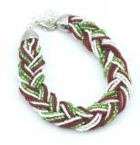 CN61-B Бисерный браслет 18 нитей, заплетенные косичкой. Цвета итальянского флага