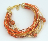 CN62/63-B Бисерный браслет для колье Мимоза и Тюльпан 16 нитей цвет красно-золотой