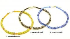 2013-34/maz Колье линия Карамель 3 цвета бусины-цилиндры муранское стекло