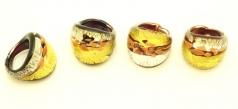 RD05-A Кольцо 2,5х2,5см с золотом, серебром и авентурином муранское стекло