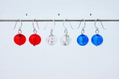 S1288/maz(1) Серьги серебро 3 цвета муранское стекло