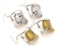 NV81 Серьги в форме ромба цвет золото и серебро