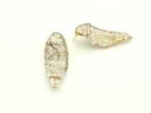 NV/03Серьги Бонди' в форме листочка цвет слоновая кость-золото