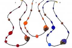 2014-40/maz Колье Финикийский орнамент 85 см 3 цвета муранское стекло