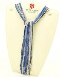 CN32 Бисер 36 нитей в форме шейного платка 105см цвет сине-серебристый