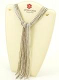 CN32 Бисер 36 нитей в форме шейного платка 105см цвет светло-серый с серебром