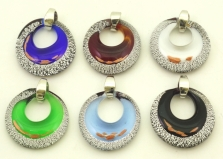 VB02-p Подвеска с серебром диам. 4 см. 6 цветов муранское стекло