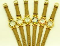 Часы кварцевые N61 цвет бежевый кожаный ремешок