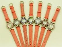 Часы кварцевые N61 цвет розовый №1 кожаный ремешок