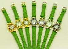 Часы кварцевые N61 цвет зеленый кожаный ремешок