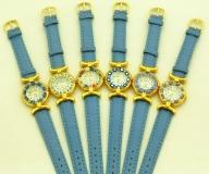 Часы кварцевые N61 цвет Голубой №1 кожаный ремешок