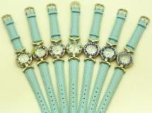 Часы кварцевые N61 цвет небесно-голубой кожаный ремешок