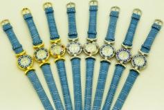 Часы кварцевые N61 цвет Голубой №2 кожаный ремешок