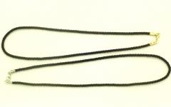 Шнурок черный скрученный для подвесок 50 см
