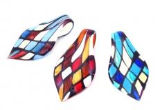ZN03 Подвеска-листок Арлекино 4х8 см различные цвета муранское стекло
