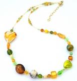 Vac/C602(4) Колье Элли длинное цвет желто-зеленый муранское стекло