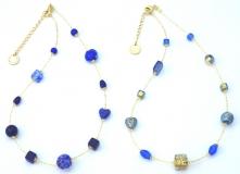 Vac/С9031/45 Колье Нежность 45см цвет голубой и кобальт муранское стекло